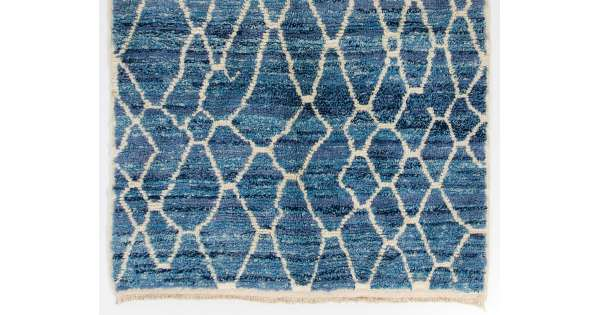 Air Force Blue Color Moroccan Berber Beni Ourain Design Rug With Beige Patterns And Shades Of Royal Light Handmade 100 Wool