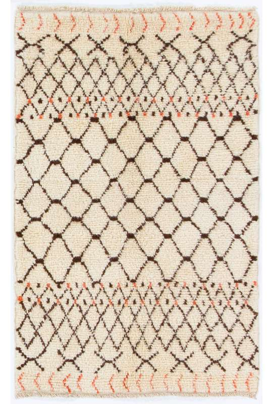Beige MOROCCAN Berber Beni Ourain Design Rug with Brown and Red patterns, HANDMADE, 100% Wool