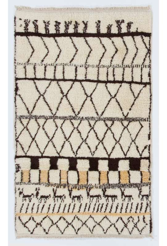 Beige MOROCCAN Berber Beni Ourain Design Rug with Brown and Yellow patterns, HANDMADE, 100% Wool