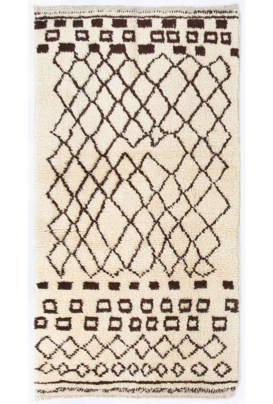 Beige MOROCCAN Berber Beni Ourain Design Rug with Brown Geometrical patterns, HANDMADE, 100% Wool