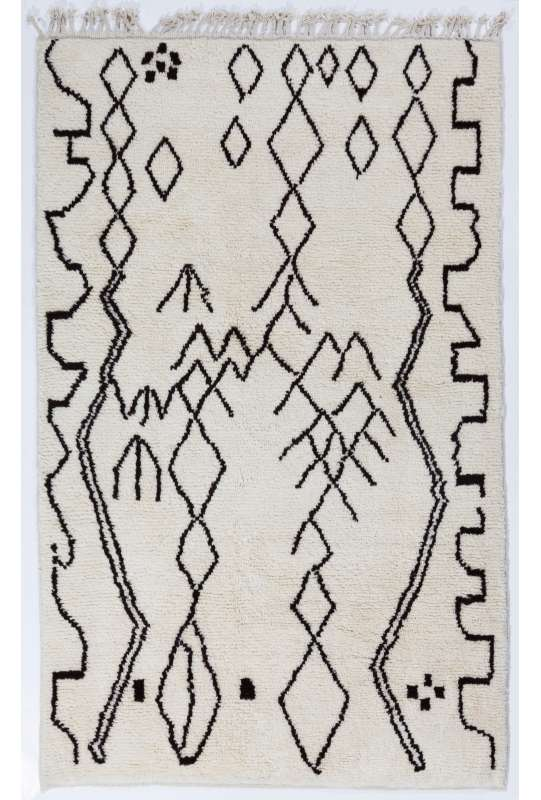 Beige color MOROCCAN Berber Beni Ourain Design Rug with Black Irregular patterns, HANDMADE, 100% Wool