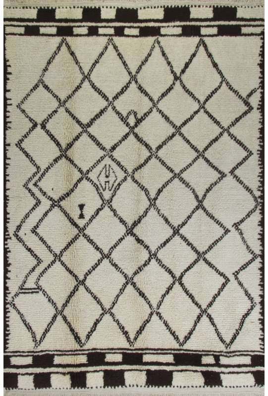 Ivory color MOROCCAN Berber Beni Ourain Design Rug with Brown Diamond and Square patterns, HANDMADE, 100% Wool