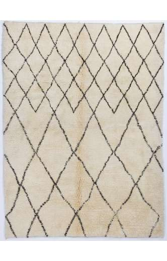 MOROCCAN Berber Beni Ourain Design Rug with Brown Diamond Shaped Patterns, HANDMADE, 100% Wool