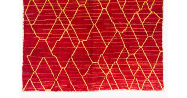Red Color Moroccan Berber Beni Ourain Design Rug Handmade