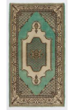 "3'10"" x 6'10"" (117 x 210 cm) Turkish Sun Faded Rug, Green, Brown & Beige"