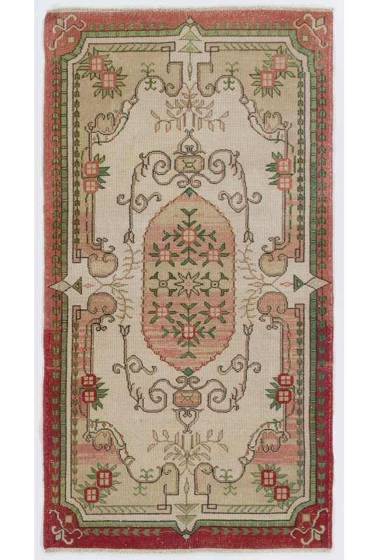"3'10"" x 7'1"" (117 x 216 cm) Antique Washed Rug, Turkish Handmade Vintage Rug, Red, Green & Beige Antique Washed Rug"
