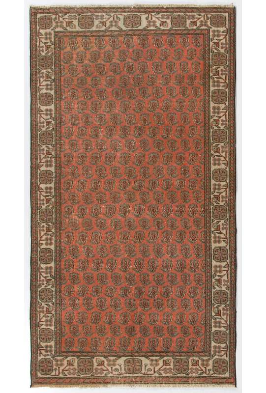 "3'8"" x 6'11"" (114 x 211 cm) Turkish Antique Washed Rug, Red and Beige Turkish Rug"