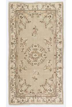 "Beige & Brown Handmade Turkish Rug, 3'8"" x 6'9"" (113 x 206 cm) Turkish Antique Washed Rug"