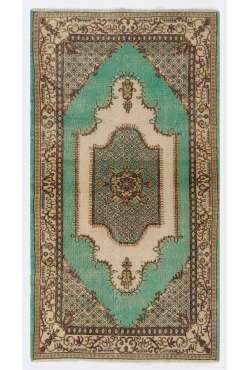 "3'9"" x 6'11"" (116 x 213 cm) Turkish Sun Faded Rug, Green, Brown & Beige"