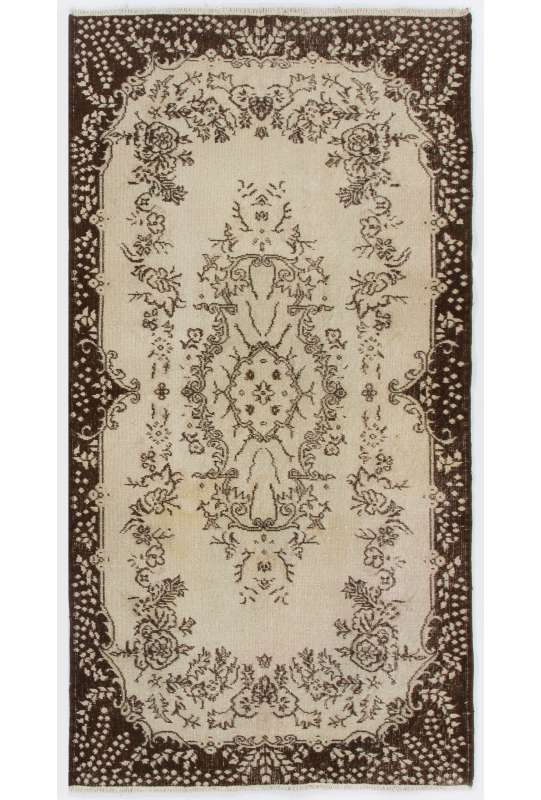 "3'9"" x 7'2"" (116 x 220 cm) Turkish Antique Washed  Rug, Beige & Brown"