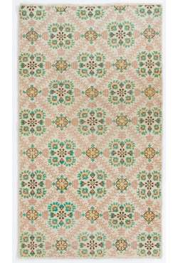 "4' x 6'10"" (120 x 210 cm) Turkish Handmade Rug, Beige with Floral Patterns"