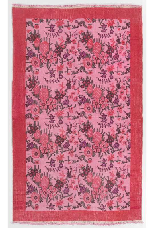 "4' x 6'4"" (122 x 194 cm) Turkish Antique Washed Rug, Pink Turkish Rug"