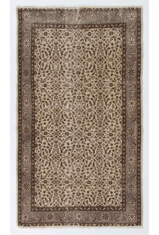"4' x 6'8"" (116 x 205 cm) Turkish Antique Washed  Rug, Beige, Brown & Gray"