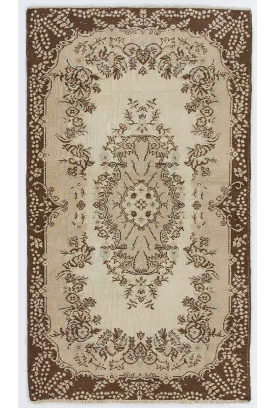 "4' x 6'10"" (118 x 209 cm) Turkish Antique Washed Rug, Beige, Taupe & Brown"