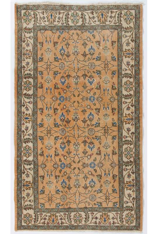 4' x 7' (124 x 214 cm) Turkish Antique Washed Rug, Beige, Peach Red & Gray