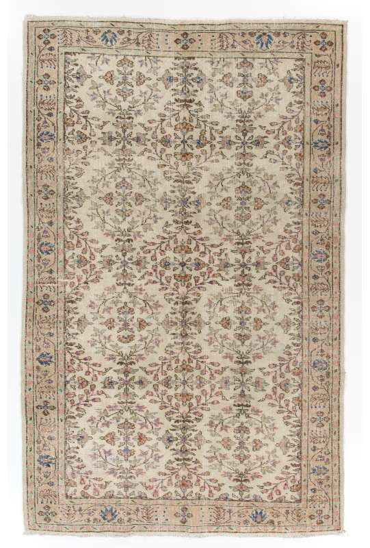 "5'9"" x 9'1"" (176 x 278 cm) Handmade Turkish Antique Washed Rug, Beige"