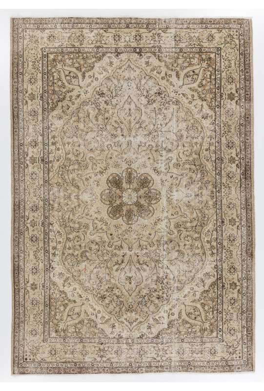 "Brown & Beige Turkish Rug, 6'8"" x 9'6"" (205 x 295 cm) Turkish Antique Washed  Rug, Beige and Brown Turkish Rug"