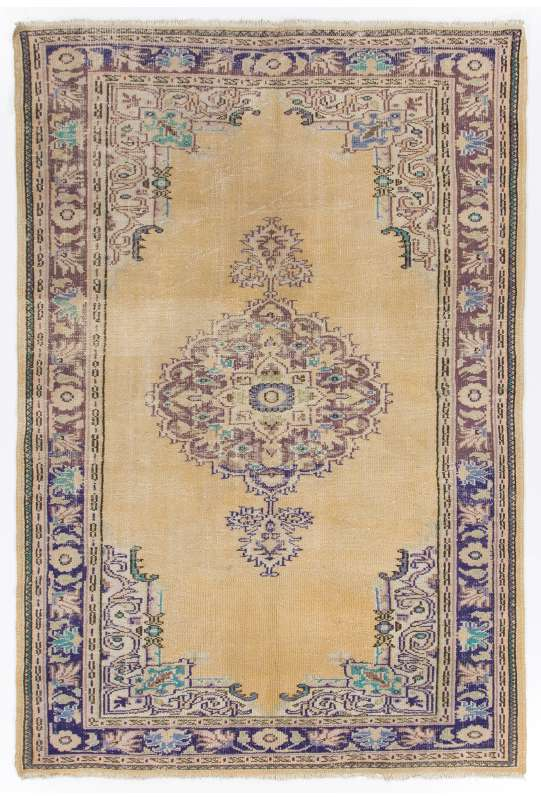 "Beige Antique Washed Turkish rug with Purple and Lilac Patterns, 6' x 8'9"" (186 x 268 cm )"