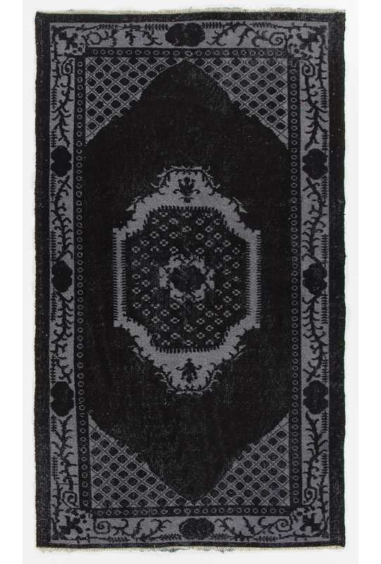 "3'10"" x 6'7"" (118 x 203 cm) Black Color Vintage Overdyed Handmade Turkish Rug, Black Overdyed Rug"
