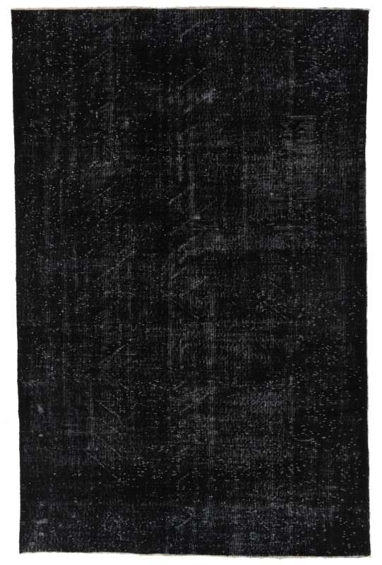 "5'10"" x 9'2"" (178 x 280 cm) Black Color Vintage Overdyed Handmade Turkish Rug, Black Overdyed Rug"