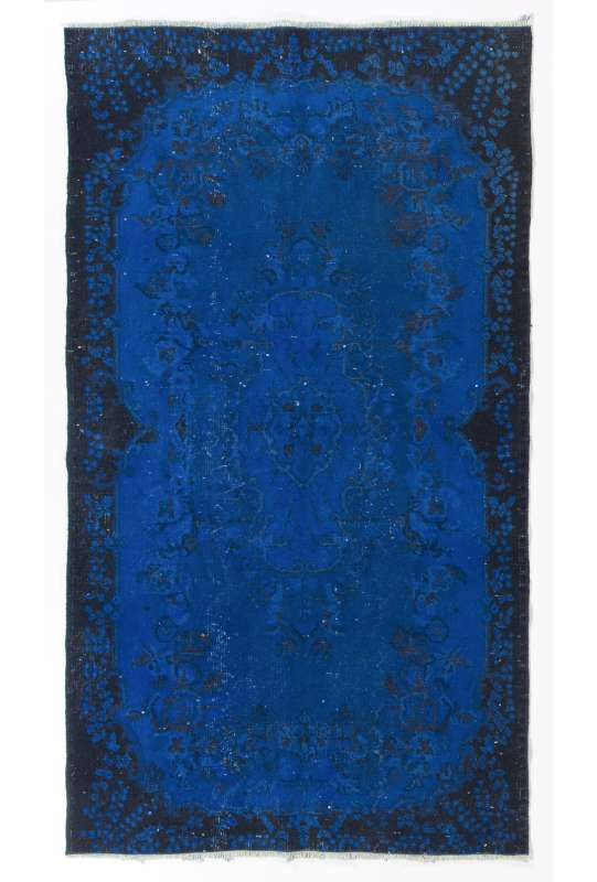 "3'10"" x 6'10"" (118 x 210 cm) Cobalt Blue Color Vintage Overdyed Handmade Turkish Rug, Blue Overdyed Rug"