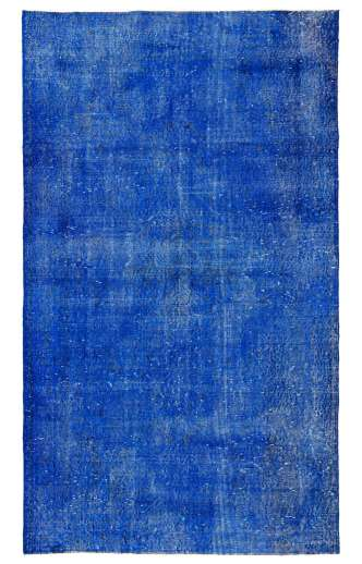 "3'10"" x 6'7"" (118 x 203 cm) Sapphire Blue Color Vintage Overdyed Handmade Turkish Rug, Blue Overdyed Rug"