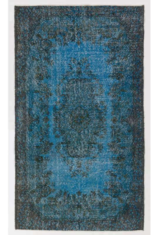 "3'10"" x 6'9"" (118 x 206 cm) Steel Blue Color Vintage Overdyed Handmade Turkish Rug"
