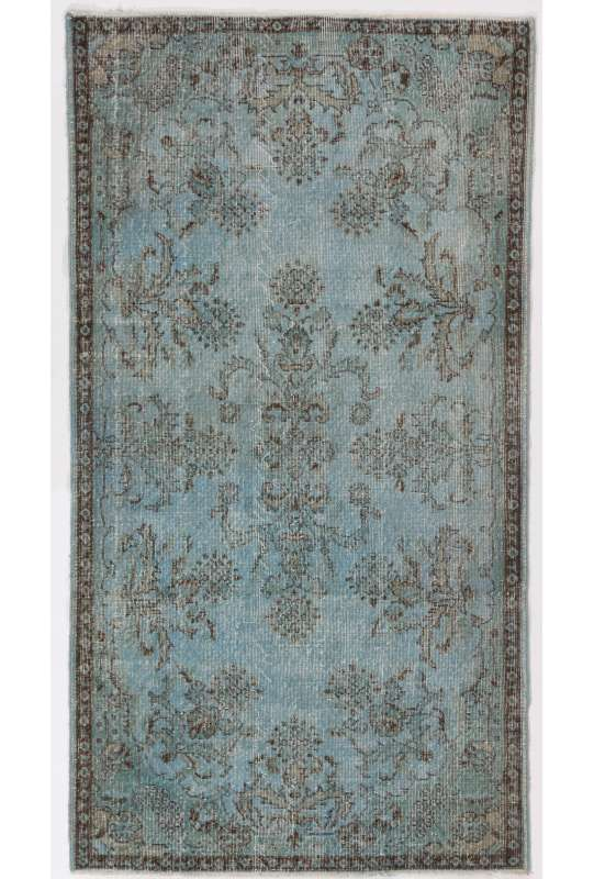 """3'10"""" x 7'2"""" (118 x 220 cm) Air Force Blue Color Vintage Overdyed Handmade Turkish Rug, Blue Overdyed Rug"""