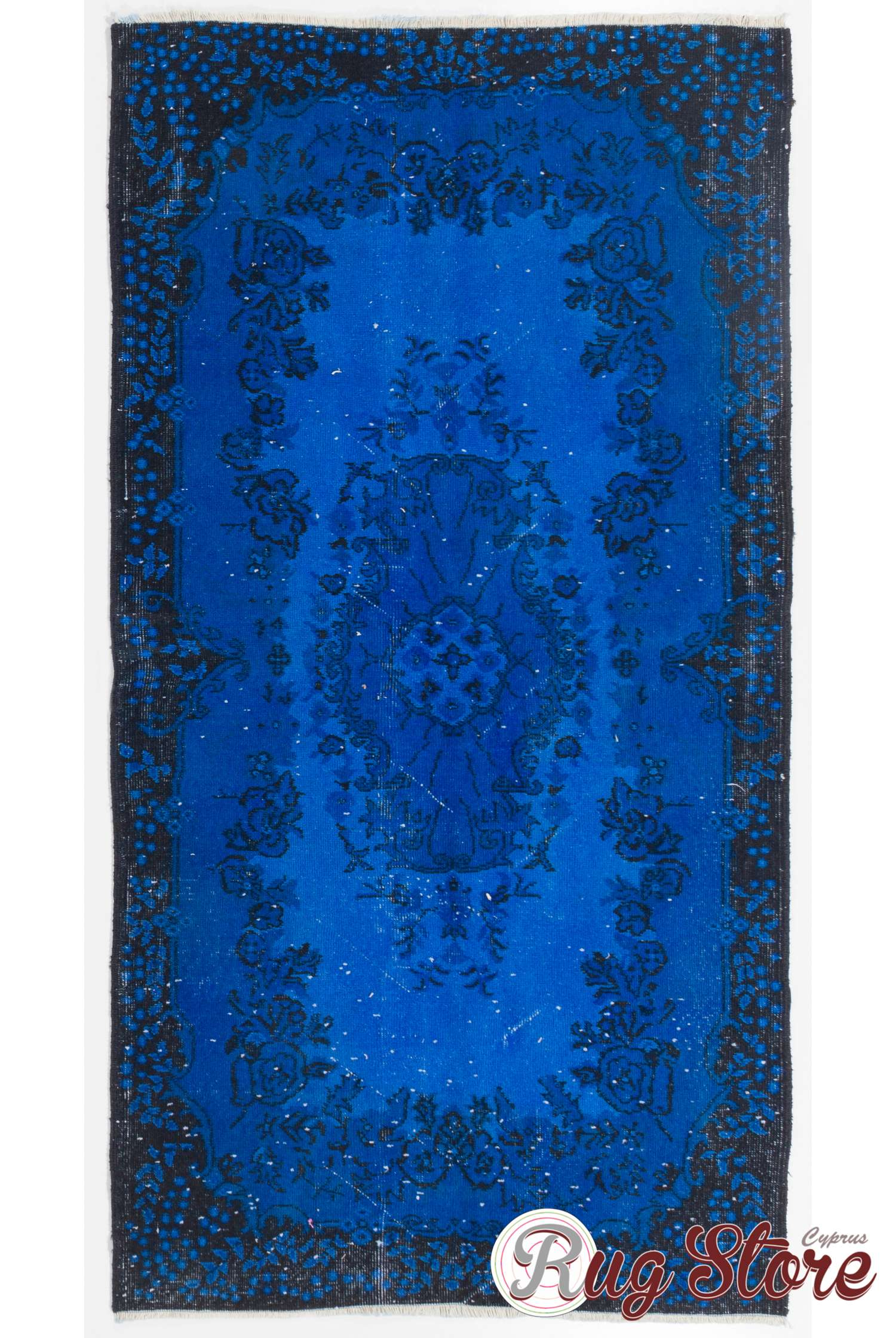 Cobalt Blue Color Vintage Overdyed Handmade Turkish Rug Vintage Overdyed Rug From Turkey