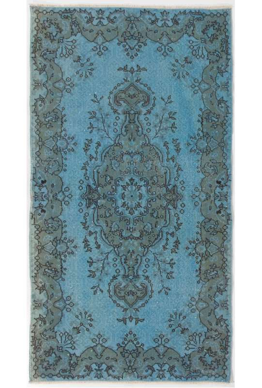 "3'8"" x 6'10"" (114 x 210 cm) Steel Blue Color Vintage Overdyed Handmade Turkish Rug, Blue Overdyed Rug"