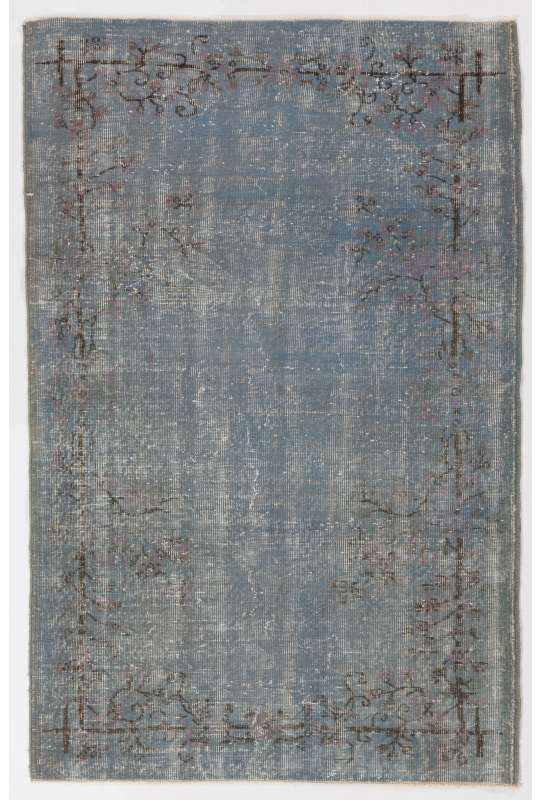 "4'1"" x 6'4"" (125 x 194 cm) Air Force Blue Color Vintage Overdyed Handmade Turkish Rug, Blue Overdyed Rug"