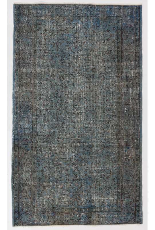 "4'1"" x 7' (125 x 215 cm) Air Force Blue Color Vintage Overdyed Handmade Turkish Rug, Blue Overdyed Rug"