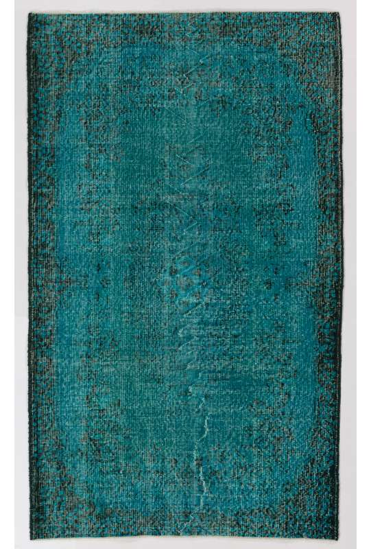 "4' x 6'10"" (122 x 210 cm) Turquoise Blue Color Vintage Overdyed Handmade Turkish Rug, Blue Overdyed Rug"