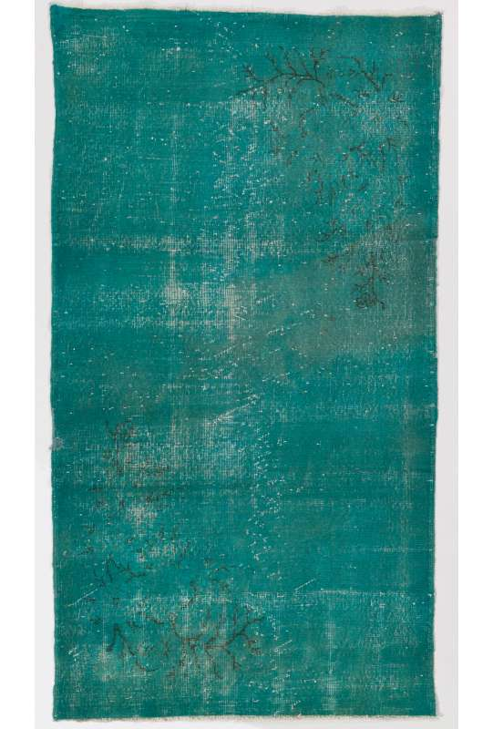 4' x 7' (122 x 213 cm) Turquoise & Teal Blue Color Vintage Overdyed Handmade Turkish Rug, Blue Overdyed Rug