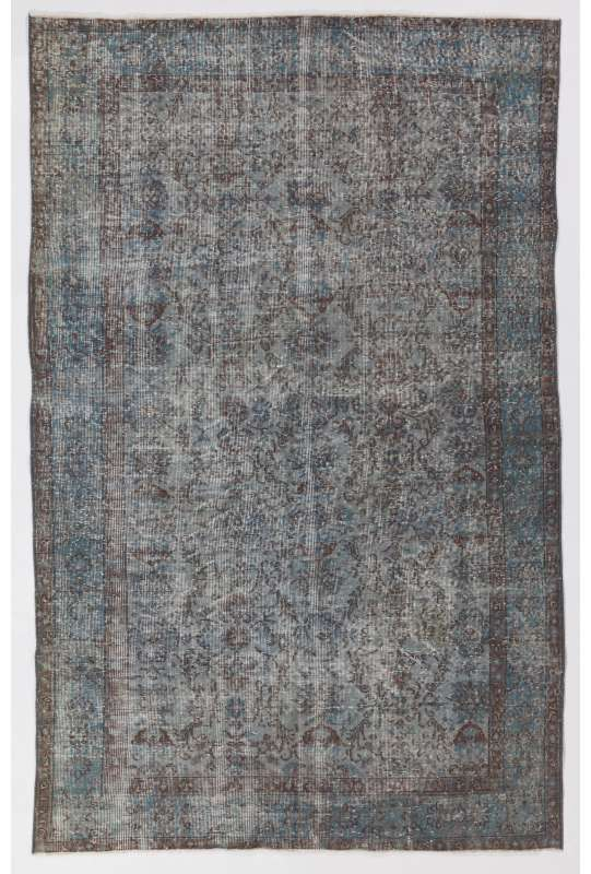 "5'5"" x 8'6"" (166 x 260 cm) Steel Blue Color Vintage Overdyed Handmade Turkish Rug, Blue Overdyed Rug"
