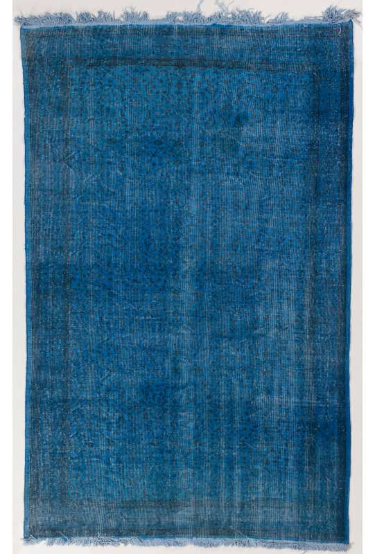 "5'8"" x 8'11"" (175 x 272 cm) Blue Color Vintage Overdyed Handmade Turkish Rug, Blue Overdyed Rug"