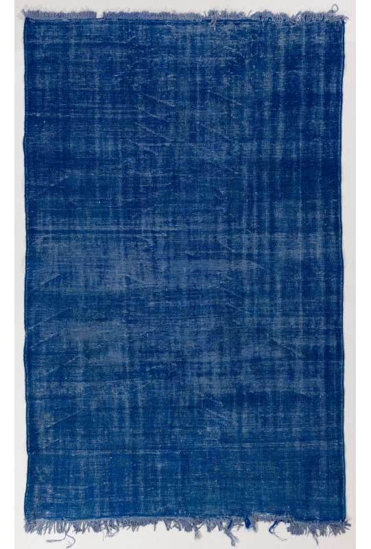 "5'8"" x 9' (175 x 275 cm) Blue Color Vintage Overdyed Handmade Turkish Rug, Blue Overdyed Rug"