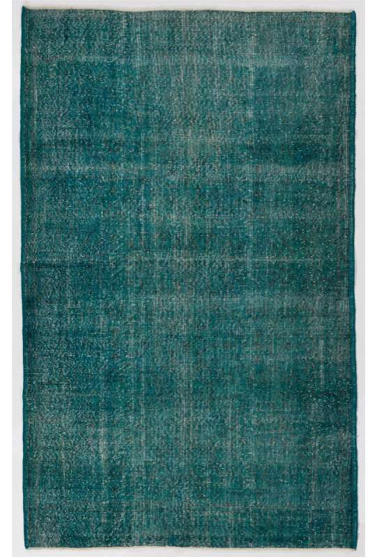 "5'8"" x 9'4"" (175 x 285 cm) Turquoise Blue Color Vintage Overdyed Handmade Turkish Rug, Blue Overdyed Rug"
