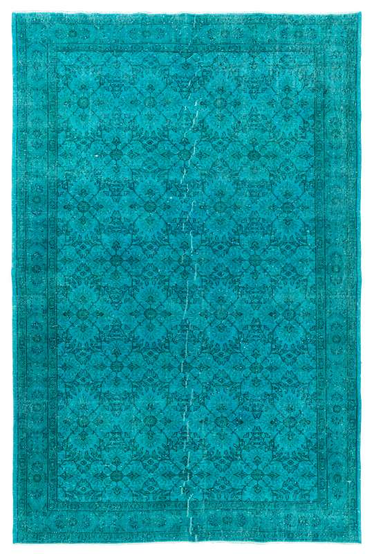 "7'4"" x 11'2"" (228 x 343 cm) Teal Blue Color Vintage Overdyed Handmade Turkish Rug"