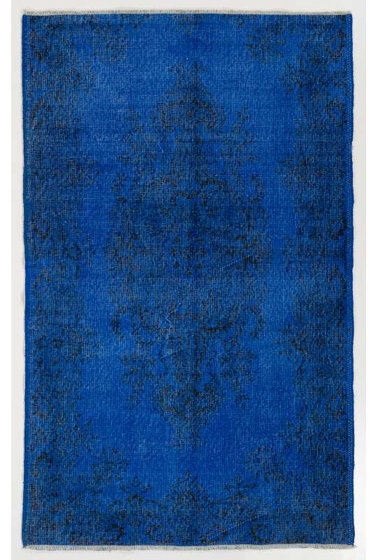 "3'8"" x 6'2"" (118x189 cm) Persian Blue Color Vintage Overdyed Handmade Turkish Rug"