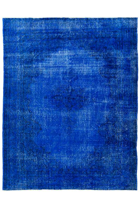 "7'3"" x 9'4"" (225 x 287 cm) Royal Blue Color Vintage Overdyed Handmade Turkish Rug"