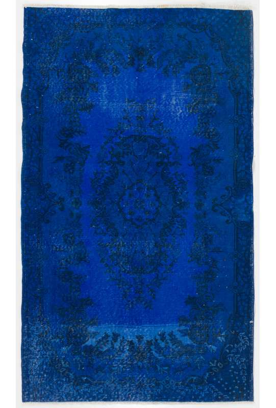 Dark Blue Overdyed Handmade Turkish Rug, Blue Overdyed Rug