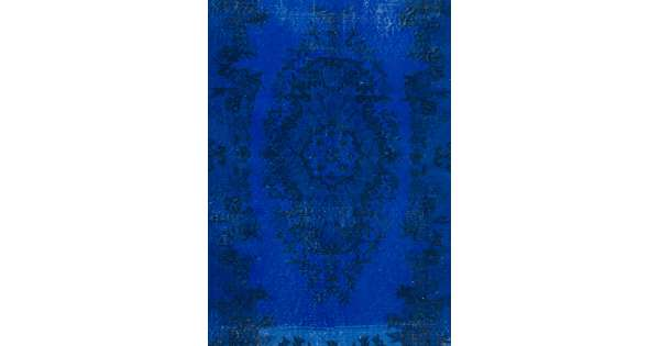Dark Blue Color Vintage Overdyed Handmade Turkish Rug