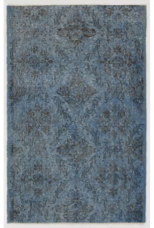 "3' x 4'8"" (92 x 143 cm) Steel Blue Color Vintage Overdyed Handmade Turkish Rug"