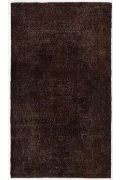 "3'10"" x 6'7"" (117 x 203 cm) Brown Color Vintage Overdyed Handmade Turkish Rug, Brown Overdyed Rug"