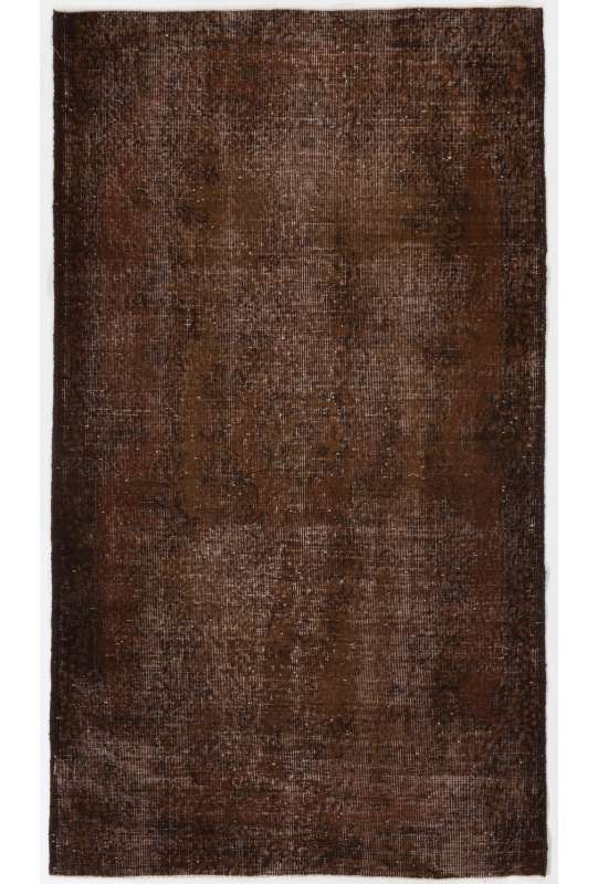 "3'11"" x 6'11"" (120 x 212 cm) Brown Color Vintage Overdyed Handmade Turkish Rug, Brown Overdyed Rug"