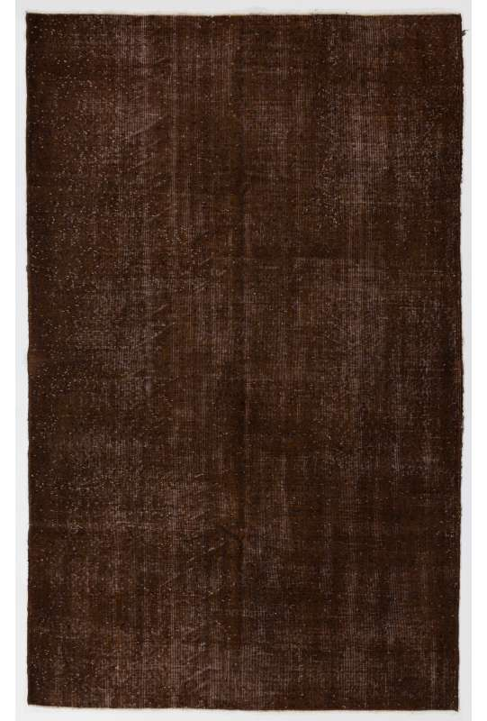 "5'4"" x 8'8"" (165 x 266 cm) Brown Color Vintage Overdyed Handmade Turkish Rug, Brown Overdyed Rug"