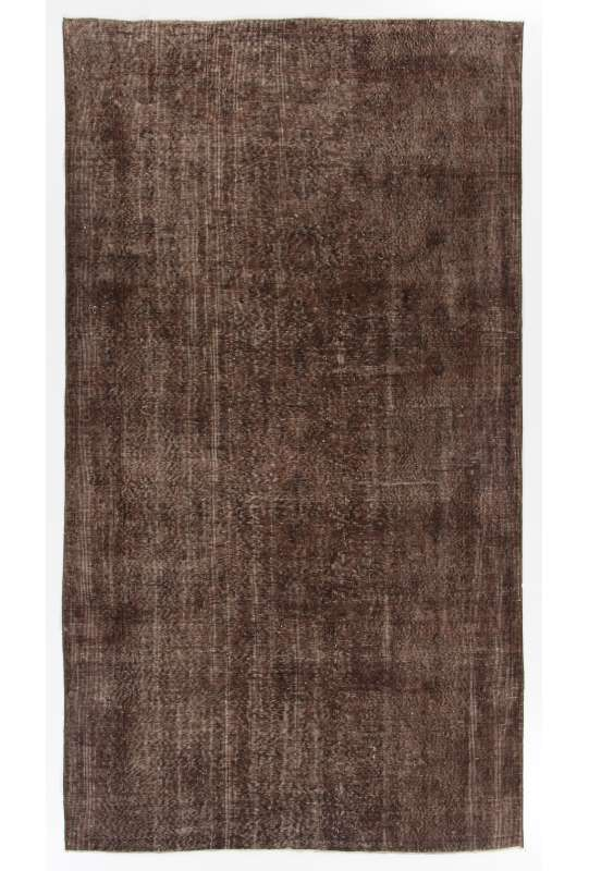 "5'4"" x 9'7"" (163 x 294 cm) Brown Color Vintage Overdyed Handmade Turkish Rug, Brown Overdyed Rug"