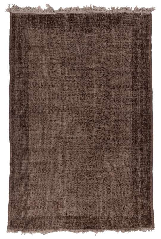 6' x 9' (185 x 275 cm) Brown Color Vintage Overdyed Handmade Turkish Rug, Brown Overdyed Rug