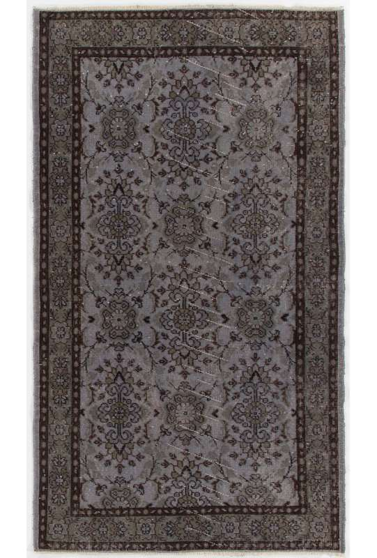 "3'11"" x 6'10"" (120 x 210 cm) Gray Color Vintage Overdyed Handmade Turkish Rug, Gray Overdyed Rug"